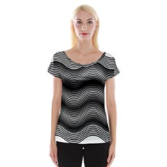 Two Layers Consisting Of Curves With Identical Inclination Patterns Women s Cap Sleeve Top