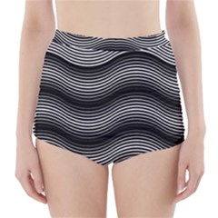 Two Layers Consisting Of Curves With Identical Inclination Patterns High Waisted Bikini Bottoms