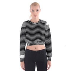 Two Layers Consisting Of Curves With Identical Inclination Patterns Women s Cropped Sweatshirt