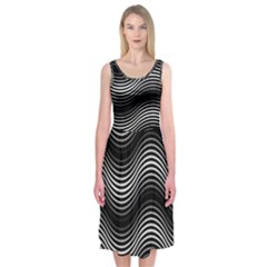 Two Layers Consisting Of Curves With Identical Inclination Patterns Midi Sleeveless Dress