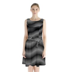 Two Layers Consisting Of Curves With Identical Inclination Patterns Sleeveless Chiffon Waist Tie Dress