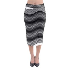 Two Layers Consisting Of Curves With Identical Inclination Patterns Midi Pencil Skirt