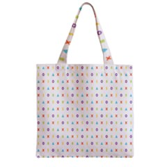Sign Pattern Zipper Grocery Tote Bag