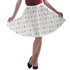 Sign Pattern A-line Skater Skirt