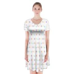 Sign Pattern Short Sleeve V-neck Flare Dress