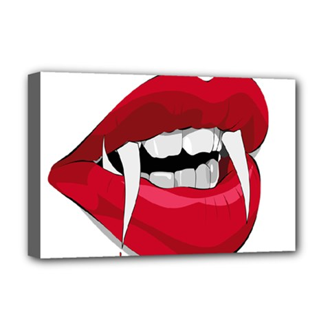 Mouth Jaw Teeth Vampire Blood Deluxe Canvas 18  x 12