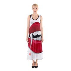 Mouth Jaw Teeth Vampire Blood Sleeveless Maxi Dress
