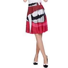 Mouth Jaw Teeth Vampire Blood A-Line Skirt