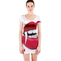 Mouth Jaw Teeth Vampire Blood Short Sleeve Bodycon Dress
