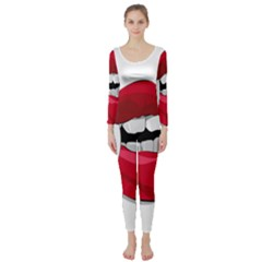 Mouth Jaw Teeth Vampire Blood Long Sleeve Catsuit