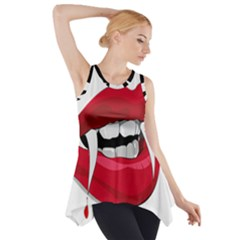 Mouth Jaw Teeth Vampire Blood Side Drop Tank Tunic