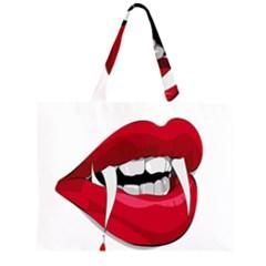Mouth Jaw Teeth Vampire Blood Large Tote Bag