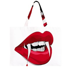 Mouth Jaw Teeth Vampire Blood Zipper Large Tote Bag