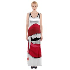 Mouth Jaw Teeth Vampire Blood Maxi Thigh Split Dress