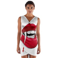 Mouth Jaw Teeth Vampire Blood Wrap Front Bodycon Dress