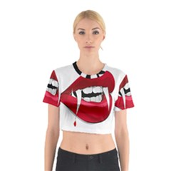 Mouth Jaw Teeth Vampire Blood Cotton Crop Top