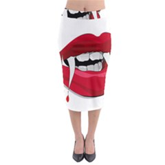 Mouth Jaw Teeth Vampire Blood Midi Pencil Skirt