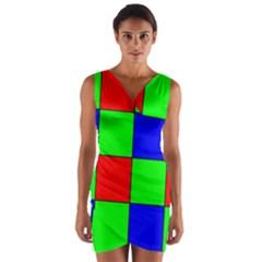 Bayer Pattern Wrap Front Bodycon Dress