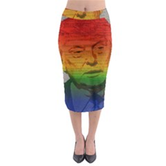 Rainbow Trump  Midi Pencil Skirt