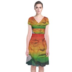 Rainbow Trump  Short Sleeve Front Wrap Dress