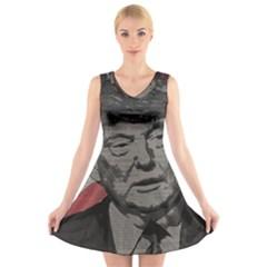 Trump V-Neck Sleeveless Skater Dress