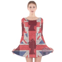 Vintage London Long Sleeve Velvet Skater Dress