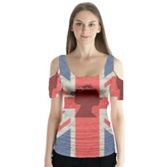 Vintage London Butterfly Sleeve Cutout Tee