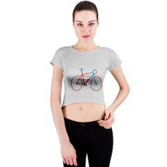 Bicycle Sports Drawing Minimalism Crew Neck Crop Top