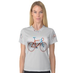 Bicycle Sports Drawing Minimalism Women s V-Neck Sport Mesh Tee