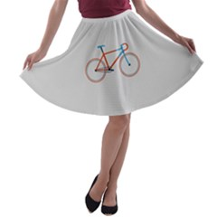 Bicycle Sports Drawing Minimalism A-line Skater Skirt