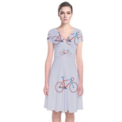 Bicycle Sports Drawing Minimalism Short Sleeve Front Wrap Dress