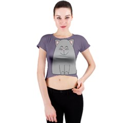 Cat Minimalism Art Vector Crew Neck Crop Top