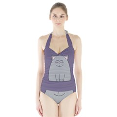 Cat Minimalism Art Vector Halter Swimsuit