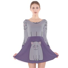 Cat Minimalism Art Vector Long Sleeve Velvet Skater Dress