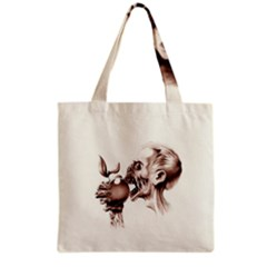 Zombie Apple Bite Minimalism Grocery Tote Bag
