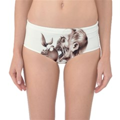 Zombie Apple Bite Minimalism Mid-Waist Bikini Bottoms