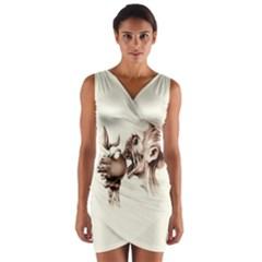 Zombie Apple Bite Minimalism Wrap Front Bodycon Dress