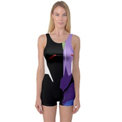Monster Face Drawing Paint One Piece Boyleg Swimsuit