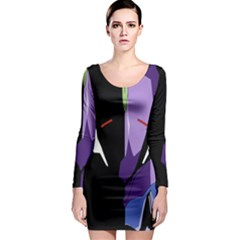 Monster Face Drawing Paint Long Sleeve Bodycon Dress