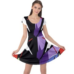 Monster Face Drawing Paint Cap Sleeve Dresses