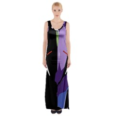 Monster Face Drawing Paint Maxi Thigh Split Dress