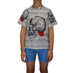 Skull and rose  Kids  Short Sleeve Swimwear