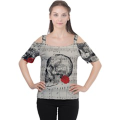 Skull and rose  Women s Cutout Shoulder Tee