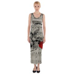 Skull and rose  Fitted Maxi Dress
