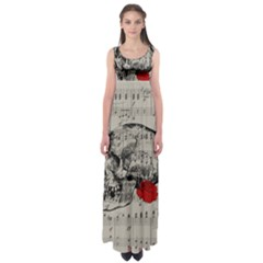 Skull and rose  Empire Waist Maxi Dress