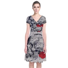 Skull and rose  Short Sleeve Front Wrap Dress