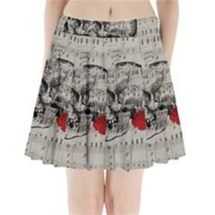 Skull and rose  Pleated Mini Skirt