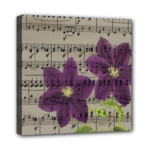 Vintage purple flowers Mini Canvas 8  x 8