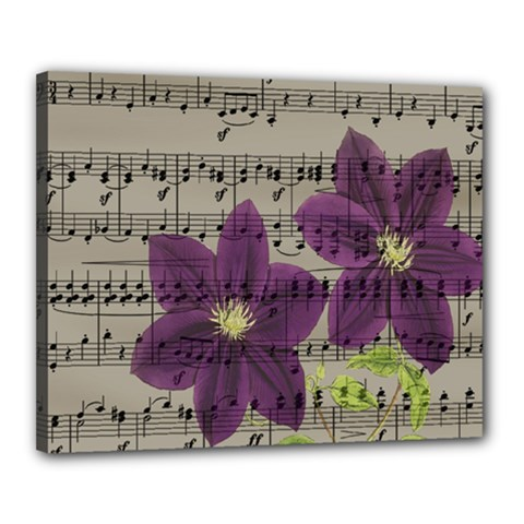 Vintage purple flowers Canvas 20  x 16