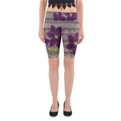 Vintage purple flowers Yoga Cropped Leggings